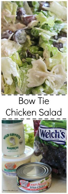 Bow Tie Pasta Chicken Salad Recipe. With Parmesan Cheese, grapes, lettuce, and wild coyote ranch, this salad does not disappoint. For recipe and many other awesome ones, go to http://lifeshouldcostless.com.