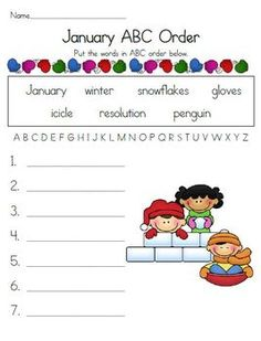 Here is a January ABC order activity for your students.  I'M FREE--PLEASE BE KIND ENOUGH TO RATE ME!   Thank you!