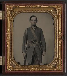 [Private Jackson A. Davis of Co. E, Holcombe Legion South Carolina Cavalry Battalion, with musket and two pistols] Rees, Charles R., photographer;  1 photograph : sixth-plate ambrotype, hand-colored ; 9.5 x 8.4 cm (case)(LOC)   Flickr - Photo Sharing!