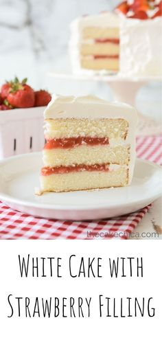 white layer cake with strawberry filling, frosted with a Swiss meringue buttercream frosting.Homemade white layer cake with strawberry filling, frosted with a Swiss meringue buttercream frosting. Raspberry Cake Filling, Strawberry Vanilla Cake, Strawberry Layer Cakes, Strawberry Recipes, Strawberry Benefits, Strawberry Art, Raspberry Preserves, Cake Filling Recipes, Cake Recipes
