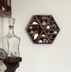 Crystal and Mineral Hexagon wooden shelf from Stone and Violet on etsy