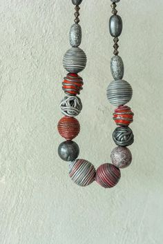 SPRING SALE Polymer clay bead necklace with grey silver