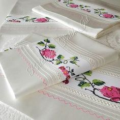 Roses on a crisp white fabric, timeless elegance. Viking Tattoo Design, Viking Tattoos, Machine Embroidery Patterns, Embroidery Designs, Stitch Crochet, Sunflower Tattoo Design, Homemade Beauty Products, White Fabrics, Bed Covers