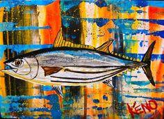 ~SKiP JACK TUNA FiSH~painting Maine~ Abstract FOLK ART outsider ~COASTWALKER