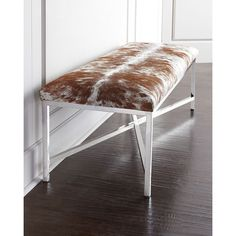 Massoud Longhorn Hairhide Bench (€1.530) ❤ liked on Polyvore featuring home, furniture, benches, massoud furniture, chrome bench and chrome furniture