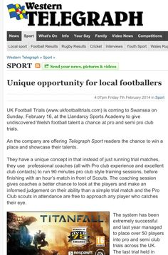 #ukfootballtrials press report today in #westerntelegraph http://www.westerntelegraph.co.uk/sport/10996256.Unique_opportunity_for_local_footballers/