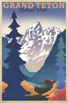 Grand Teton National Park, Wyoming - Lithograph (Art Prints, Wood & Metal Signs, Canvas, Tote Bag, T