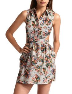 Cutout Floral Shirt Dress: Charlotte Russe