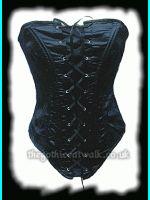 Black Satin & Lace Gothic Corset Basque - Phaze