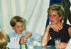 August 9, 1990: Princess Diana and Prince William and Prince Harry on a fun visit to the French-Canadian 'Le Cirque du Soleil'.