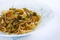 Noodles with Mushrooms and Lemon Ginger Dressing Recipe