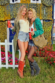 Names: Theodora Richards and Alexandra Richards From: New York City Wearing: Theodora: Green jacket, Opening Ceremony top, Levi's shorts, Hunter boots; Alexandra: Urban Outfitters shirt, American Apparel tights, Hunter boots, vintage bathing suit Going to see: Spinal Tap