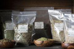 Bulk see-through plastic bags of herbs