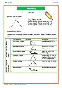 Grade 7 Maths Geometry workbook 2: Triangles and Circles