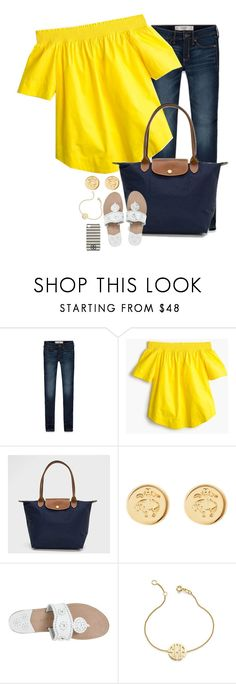 """Not sure how I feel about this top but it's very comfortable!"" by prep-eq ❤ liked on Polyvore featuring Abercrombie & Fitch, J.Crew, Longchamp, Brooks Brothers, Jack Rogers, Sarah Chloe and Tory Burch"