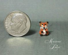 OOAK micro fox foxy MINIATURE HANDMADE POLYMERCLAY DRAGON FANTASY art animal