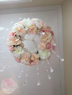 Floral Mobile/Nursery Mobile/Vintage Rose Wreath/Crib