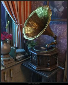 """""""Composition #6"""" Still life with gramophone, pixels on canvas. by Juan Siquier"""