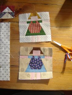 Quilting with the Past These patterns look so cute for a child's quilt.