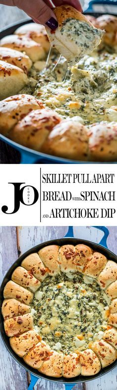 This Spinach and Artichoke Dip is simple gooey cheesy goodness surrounded by bread rolls, all baked in one skillet. Plop it on a table and let everyone dig in. (Spinach And Artichoke Dip Recipes) Appetizers For Party, Appetizer Recipes, Dinner Recipes, Shrimp Recipes, Lunch Recipes, Pasta Recipes, Dinner Ideas, Chicken Recipes, Soup Recipes