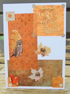 Gold Owl handmade card FWB any occasion by RogueKissedCraft Owl Card, Gray Owl, Rogues, Autumn Leaves, Etsy Store, Birthday Cards, Greeting Cards, Fall, Awesome
