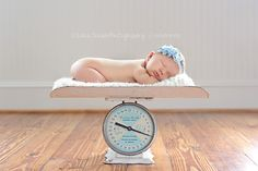 baby scale newborn picture. Sara Jensen Photography