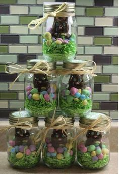 Mason jars with Easter candy! So cute!