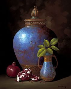 Heirlooms and Pomegranates by Rino Gonzalez to remind me of my time in Asia Still Life Drawing, Painting Still Life, Baroque Painting, Hyper Realistic Paintings, Still Life Fruit, Islamic Paintings, Art Watercolor, Fruit Painting, Still Life Photos
