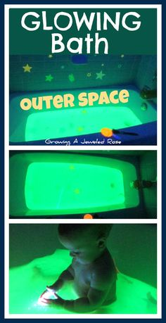 Glow Bath - full of magical imaginative & sensory play- this bath let's little ones escape to Outer Space while swimming in a tub of GLOWING bath water! I will have to remember this for when the baby is old enough Sensory Activities, Infant Activities, Activities For Kids, Baby Play, Baby Kids, Baby Sensory Play, Diy For Kids, Cool Kids, Kids Bath