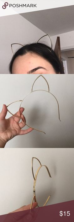 Gold cat ears headband Super cute and untarnished cat ear headband! Claire's Accessories Hair Accessories
