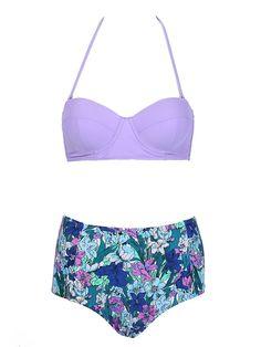 Purple Push Up Bikini Top And Floral High Waist Bottom