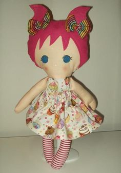 Sewing: Hand made rag doll, 'Cupcakes' (bright)