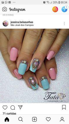 Nail Art, Nails, Beauty, Blue Nails, Nail Jewels, Shades, Light Blue, Finger Nails, Ongles