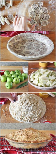 apple pie with cinnamon roll pie crust