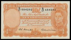 AUSTRALIA - BANKNOTES - Pre-Decimal - Ten Shillings - 1952 10/- Coombs/Wilson, McD #23, R #15, serial 'B17 684292', faintest… / MAD on Collections - Browse and find over 10,000 categories of collectables from around the world - antiques, stamps, coins, memorabilia, art, bottles, jewellery, furniture, medals, toys and more at madoncollections.com. Free to view - Free to Register - Visit today. #Banknotes #PreDecimal #MADonCollections #MADonC