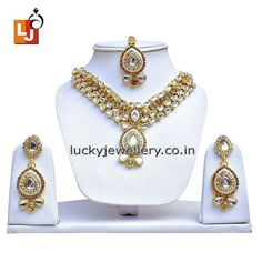 Planning to attend #wedding party with same old boring #jewelry. Try this stunning Golden Kundan #Necklace set Designer Party wear with Mang Tika. Order it now online from #LuckyJewellery  at Rs. 706/- This wedding season flaunt elegance with this stylish Necklace set. #jewellery #fashion #style #ethnic #monsoon http://ift.tt/29QdNac