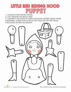 Third Grade Paper Projects Coloring Worksheets: Little Red Riding Hood Puppet