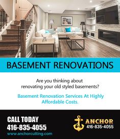 Are you thinking about renovating your old styled basements? Contact AnchorCutting - well known name in basement renovation services in Brampton, Mississauga, Milton and Oakville. Basement Renovations, Sweet Home, Basements, Meet, Detail, Style, Swag, House Beautiful, Basement