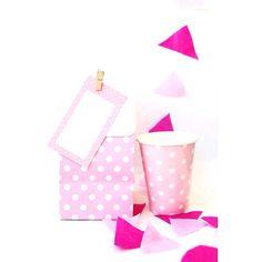 Sacolas de lembrancinha poá Rosa, copos de papel poá Rosa, tags e mini prendedores! #artigosdefesta #lojavirtual