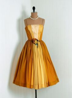 1950's Vintage Marigold-Yellow and Ivory Ombre-Gradient Ruched Silk-Chiffon Couture Thin-Strap Plunge Nipped-Waist Rockabilly Ballerina-Cupcake Princess Rose-Floral Applique Full-Skirt Bombshell Garden Wedding Formal Evening Cocktail Party Dress  $350 by cherie