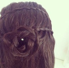 Waterfall braids with flower