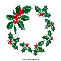 Christmas wreath made from isolated mistletoe. Christmas Makes, Christmas Art, Christmas Themes, Christmas Ornaments, Christmas Doodles, Christmas Drawing, Christmas Wreath Illustration, Illustration Blume, Christmas Wreaths