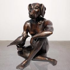 Bronze Sculpture Dogman and Bird by Gillie and Marc
