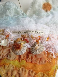 CAROLYN SAXBY: sunlight gleaned on the water textile art heart with melted distressed fabrics beads shells and tiny stitches Gold Fabric, Fabric Beads, Fabric Art, Textile Fiber Art, Textile Artists, Ocean Texture, Carolyn Saxby, A Level Textiles, Seaside Art