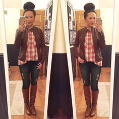 More Pieces of Me: Express Minus the Leather Moto Jacket + Express Oversized Plaid shirt + Distressed jeans + Coach boots