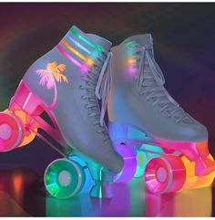 Light up vintage style rollerskates Cute Shoes, Me Too Shoes, 80s Shoes, Funky Shoes, Unique Shoes, Mode Kawaii, Kawaii Shoes, Kawaii Clothes, Aesthetic Shoes
