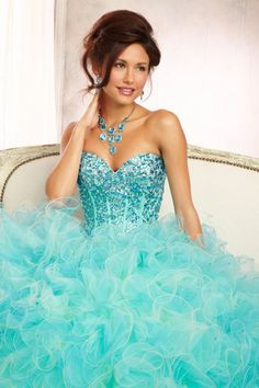 Multi Color New Style Quinceanira Dress Bll Gown On A Ruffled Tulle&Organza Skirt