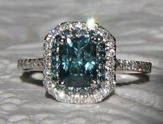 1.47 Carat Untreated Blue Green Montana Sapphire and Blue Diamonds in White Gold Diamond Double Halo Engagement Ring, by JuliaBJewelry on Etsy