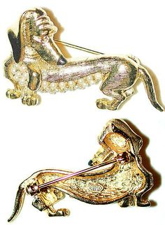 Pins Brooches 165888: Vintage Doxie Dachshund Wiener Dog Pin Gilded Engraved Pearl Belly Signed Sphinx BUY IT NOW ONLY: $49.0