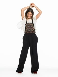 Embroidered Wide Leg Dungarees | All-in-ones | Ladies Clothing at Scotch & Soda